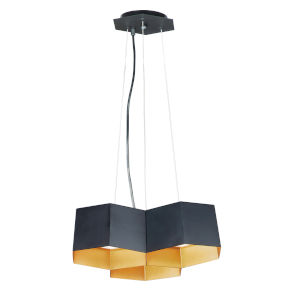 Honeycomb Black and Gold Three-Light LED Pendant