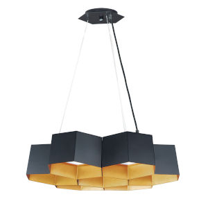 Honeycomb Black and Gold Seven-Light LED Pendant