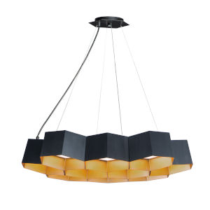 Honeycomb Black and Gold 10-Light LED Pendant