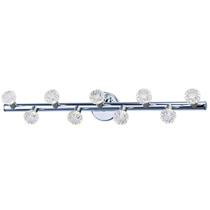 Bejewel LED Polished Nickel and Satin Nickel 34-Inch Nine-Light Bath Vanity