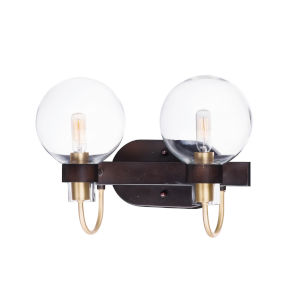 Bauhaus Bronze and Satin Brass 16-Inch Two-light Bath Vanity