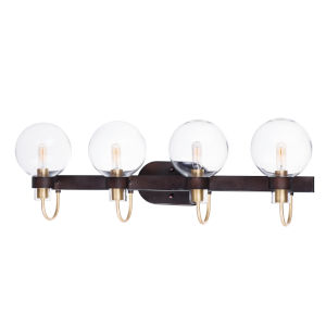 Bauhaus Bronze and Satin Brass 33-Inch Four-Light Bath Vanity