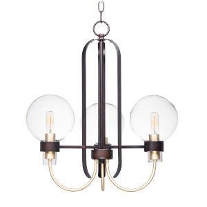 Bauhaus Bronze and Satin Brass 20-Inch Three-Light Adjustable Chandelier