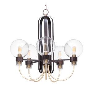 Bauhaus Bronze and Satin Brass 24-Inch Five-Light Adjustable Single-Tier Chandelier