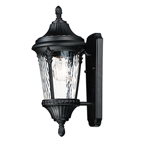 Liner Black and Satin Brass Four-Light Outdoor Wall Mount Sconce