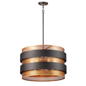 Caspian Oil Rubbed Bronze and Antique Brass Six-Light Pendant