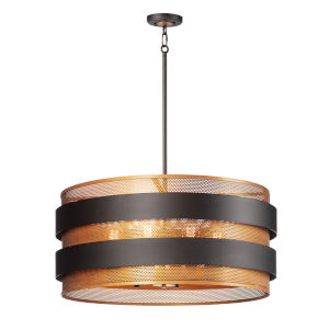 Caspian Oil Rubbed Bronze and Antique Brass Eight-Light Pendant