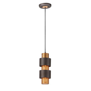 Caspian Oil Rubbed Bronze and Antique Brass One-Light Mini Pendant