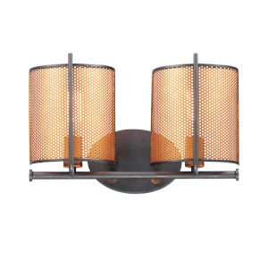 Caspian Oil Rubbed Bronze and Antique Brass Two-Light Bath Vanity