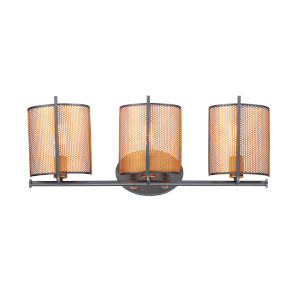 Caspian Oil Rubbed Bronze and Antique Brass Three-Light Bath Vanity