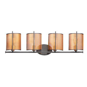 Caspian Oil Rubbed Bronze and Antique Brass Four-Light Bath Vanity