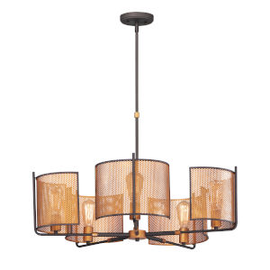 Caspian Oil Rubbed Bronze and Antique Brass Five-Light Pendant