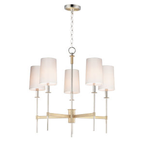 Uptown Satin Brass and Polished Nickel Five-Light Chandelier
