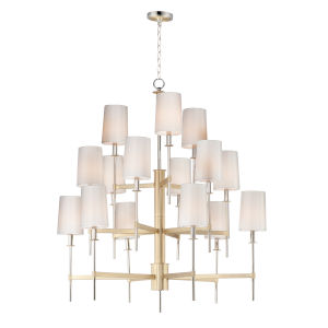 Uptown Satin Brass and Polished Nickel 15-Light Chandelier