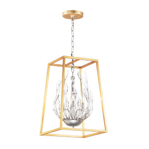Bouquet Polished Nickel and Gold Leaf Four-Light Pendant