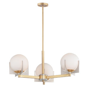 Finn Satin Brass and Brushed Platinum Three-Light Chandelier