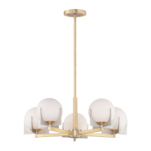 Finn Satin Brass and Brushed Platinum Five-Light Pendant