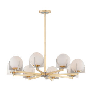 Finn Satin Brass and Brushed Platinum Eight-Light Chandelier