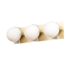 Finn Satin Brass and Brushed Platinum Three-Light Vanity Light