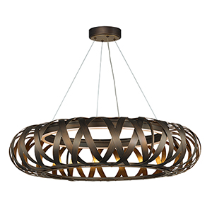 Weave Bronze Gilt and Gold 30-Inch LED Pendant