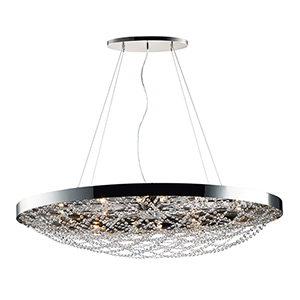 Lace Polished Nickel 21-Inch 10-Light Pendant