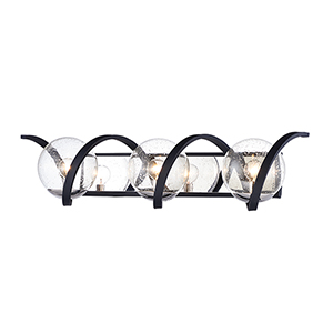 Curlicue Black and Polished Nickel 30-Inch LED Bath Vanity