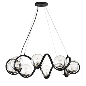 Curlicue Black and Polished Nickel 35-Inch Eight-Light Pendant