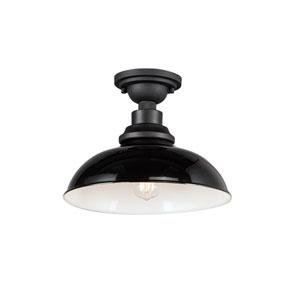 Granville Gloss Black One-Light Outdoor Flush Mount