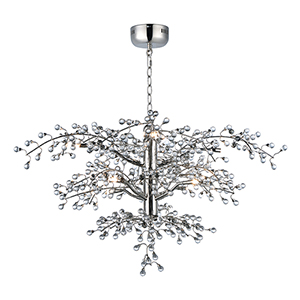 Cluster Polished Nickel 36-Inch LED Chandelier