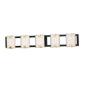Radiant Black and Gold Leaf Five-Light Integrated LED ADA Wall Sconce