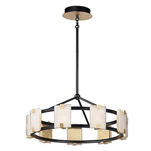 Radiant Black and Gold Leaf Nine-Light Integrated LED Adjustable Chandelier