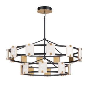 Radiant Black and Gold Leaf 20-Light LED Chandelier
