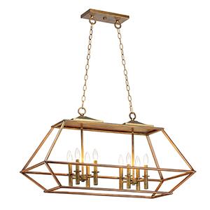 Woodland Hazel and Burnished Gold Eight-Light Adjustable Pendant
