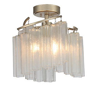 Victoria Golden Silver Three-Light Semi-Flush Mount