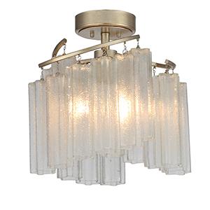 Victoria Golden Silver Three-Light Semi-Flush Mount
