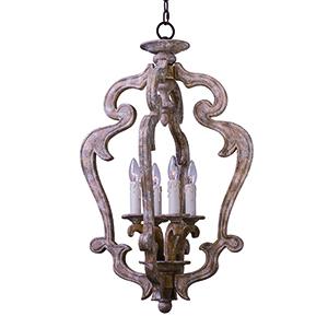 Olde World Senora Wood 19-Inch LED Pendant