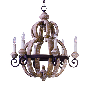 Olde World Senora Wood 28-Inch Six-Light Chandelier