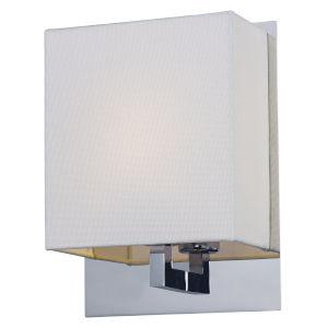 Hotel Polished Chrome One-Light LED Wall Sconce Fabric Shade 3000 Kelvin 810 Lumens