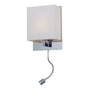 Hotel Polished Chrome One-Light LED Wall Sconce with Fabric Shade 3000 Kelvin 850 Lumens