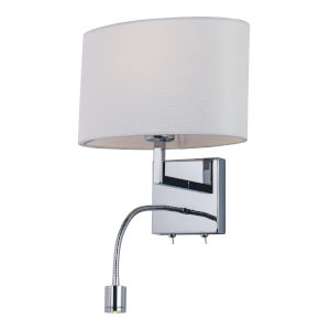 Hotel Polished Chrome One-Light LED Wall Sconce with Fabric Shade 3000 Kelvin
