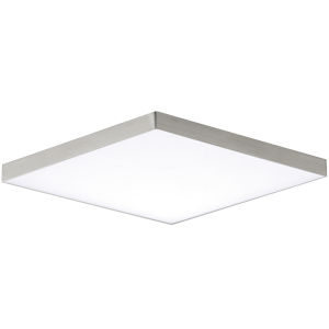 Trim Satin Nickel One-Light ADA LED Flush Mount with Polycarbonate Shade 3000 Kelvin 1450 Lumens