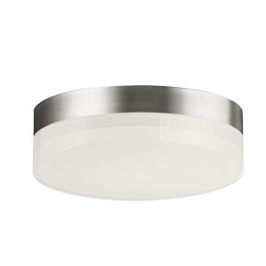 Illuminaire Ii Satin Nickel One-Light LED Flush Mount with Acrylic Shade 3000 Kelvin