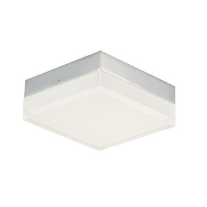Illuminaire Ii Polished Chrome One-Light LED Flush Mount with Acrylic Shade 3000 Kelvin 920 Lumens