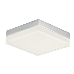 Illuminaire Ii Polished Chrome One-Light LED Flush Mount with Acrylic Shade 3000 Kelvin 1080 Lumens
