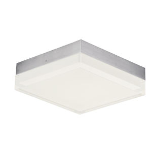 Illuminaire Ii Satin Nickel One-Light LED Flush Mount with Acrylic Shade 3000 Kelvin 1080 Lumens