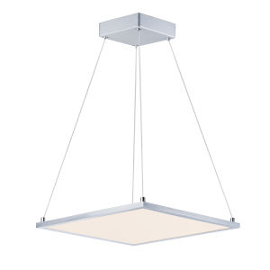 Wafer Satin Nickel 15-Inch Integrated LED Square Pendant