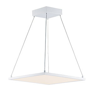 Wafer White Integrated LED 15-Inch Square Pendant