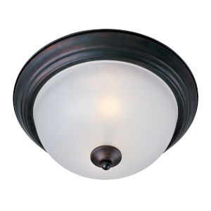 Essentials - 584X 11-Inch Oil Rubbed Bronze Two-Light Flush Mount with Glass Shade