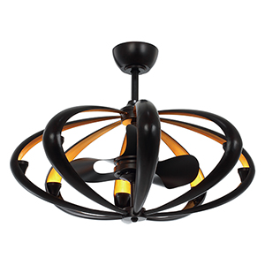 Ambience Bronze and Gold 33-Inch LED Eight-Light Fandelier