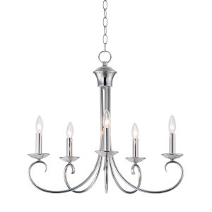 Loft Polished Nickel 25-Inch Five-Light Adjustable Single-Tier Chandelier